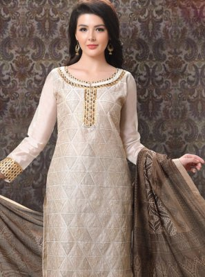 Embroidered Chanderi Cream Churidar Salwar Suit