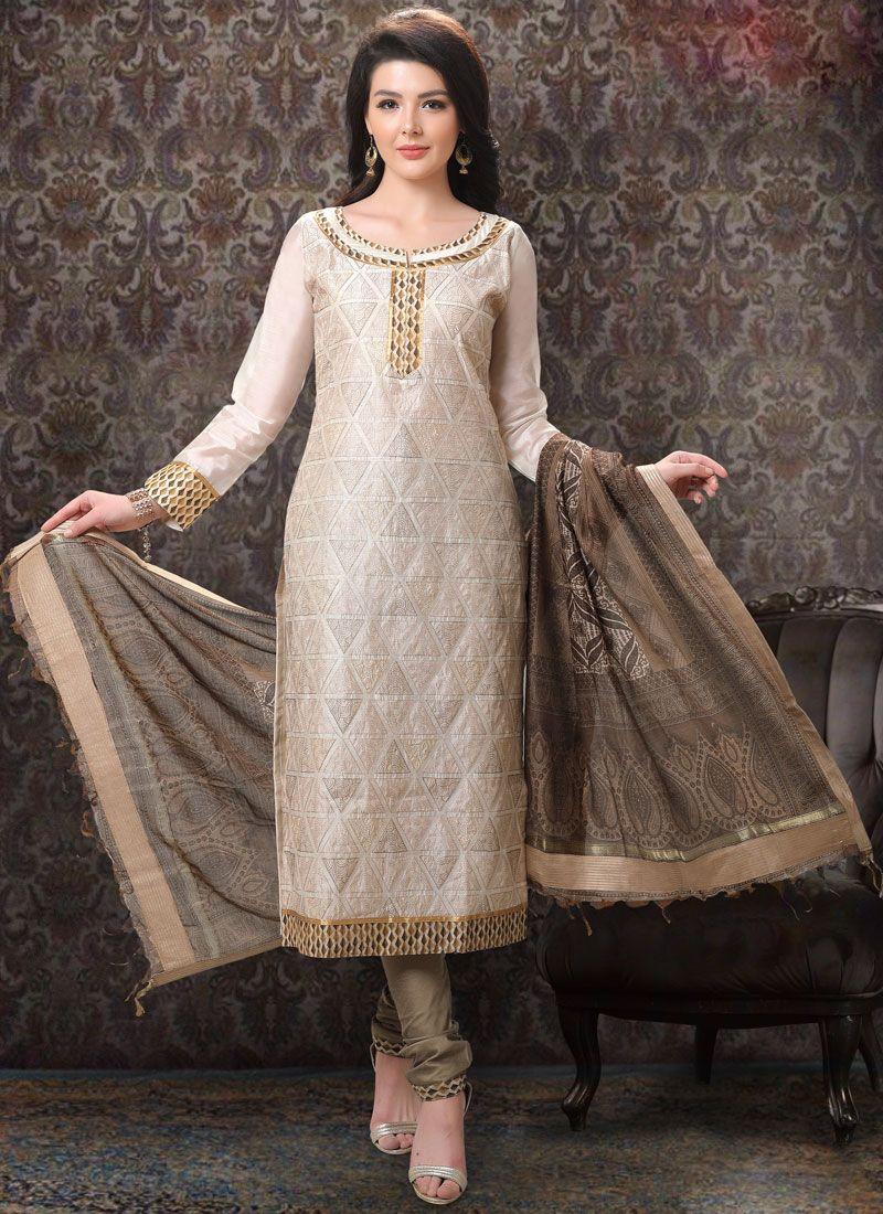 Embroidered Chanderi Cream Churidar Salwar Suit