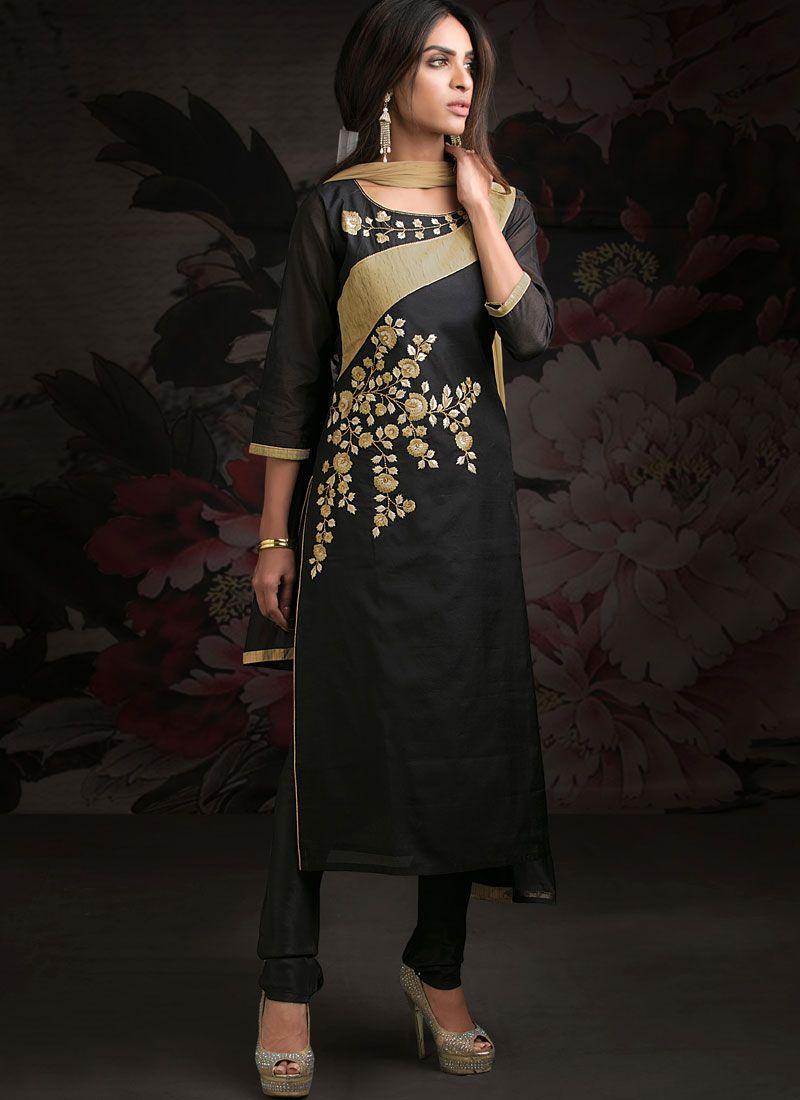 Embroidered Chanderi Designer Salwar Kameez in Black