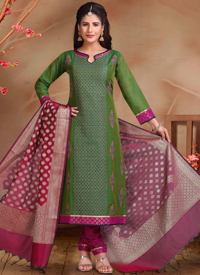 Embroidered Chanderi Designer Straight Suit in Green