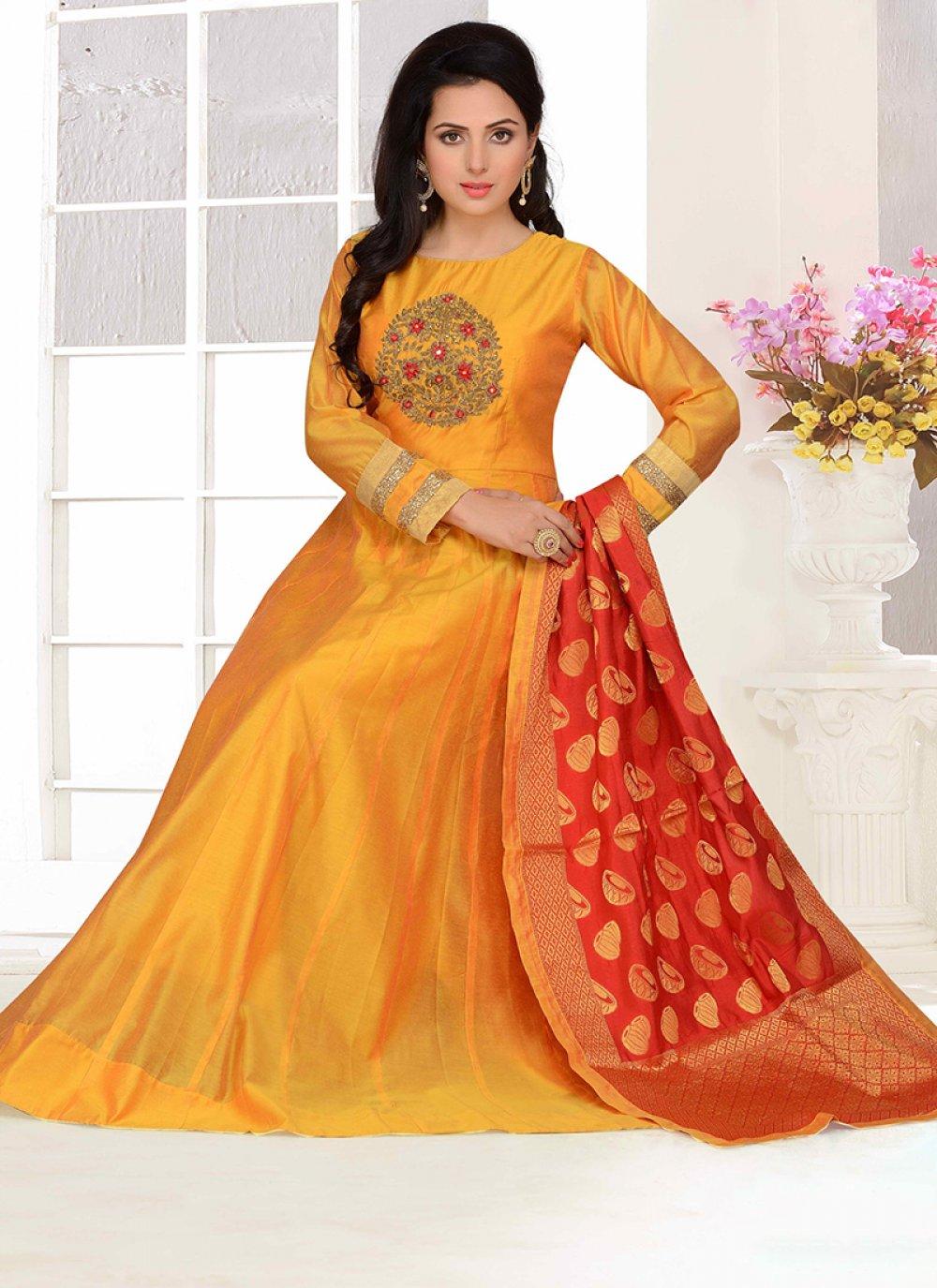 Embroidered Chanderi Designer Suit