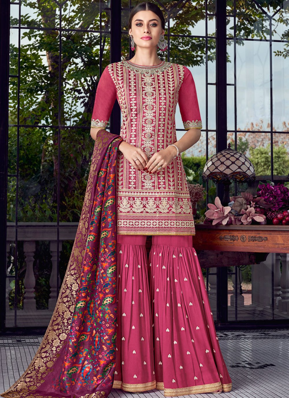 Embroidered Chanderi Hot Pink Designer Pakistani Suit