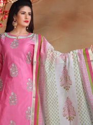 Embroidered Chanderi Pink Designer Straight Suit