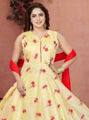 Embroidered Chanderi Readymade Anarkali Suit