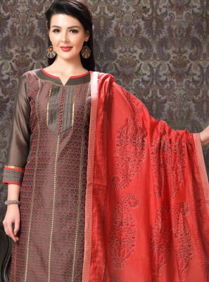 Embroidered Chanderi Trendy Churidar Salwar Kameez