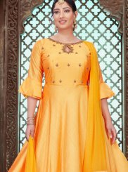 Embroidered Chanderi Yellow Designer Gown