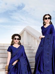 Embroidered Chiffon Satin Classic Designer Saree in Blue
