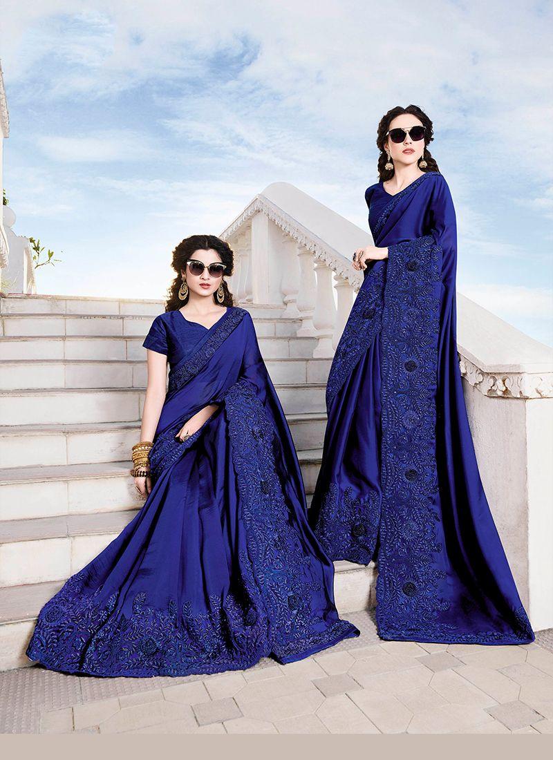 Embroidered Chiffon Satin Classic Designer Saree in Blue