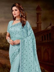 Embroidered Chiffon Satin Designer Saree in Firozi