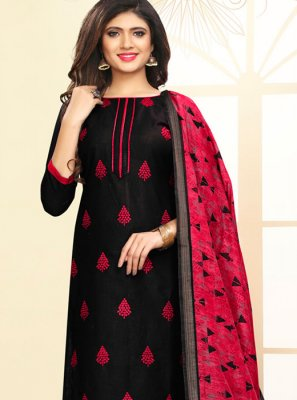 Embroidered Cotton Black and Red Churidar Suit