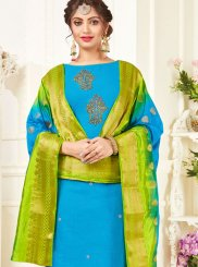 Embroidered Cotton Blue Churidar Suit