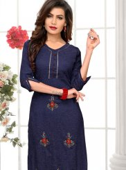 Embroidered Cotton Blue Party Wear Kurti