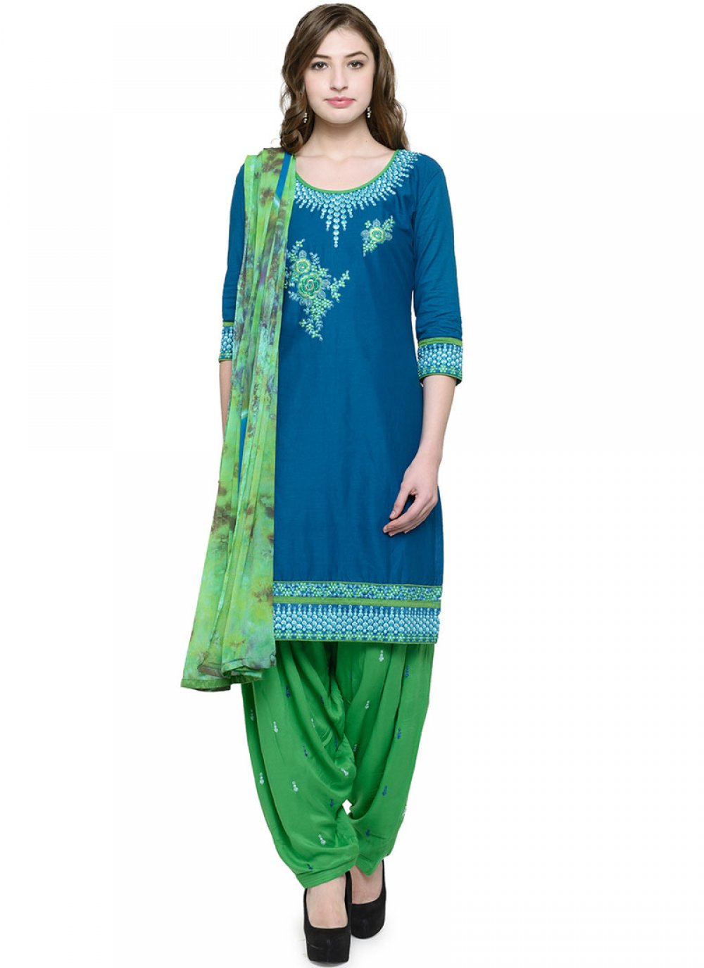 Embroidered Cotton Blue Punjabi Suit
