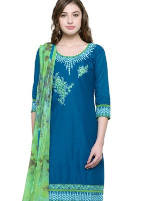 Embroidered Cotton Blue Punjabi Suit