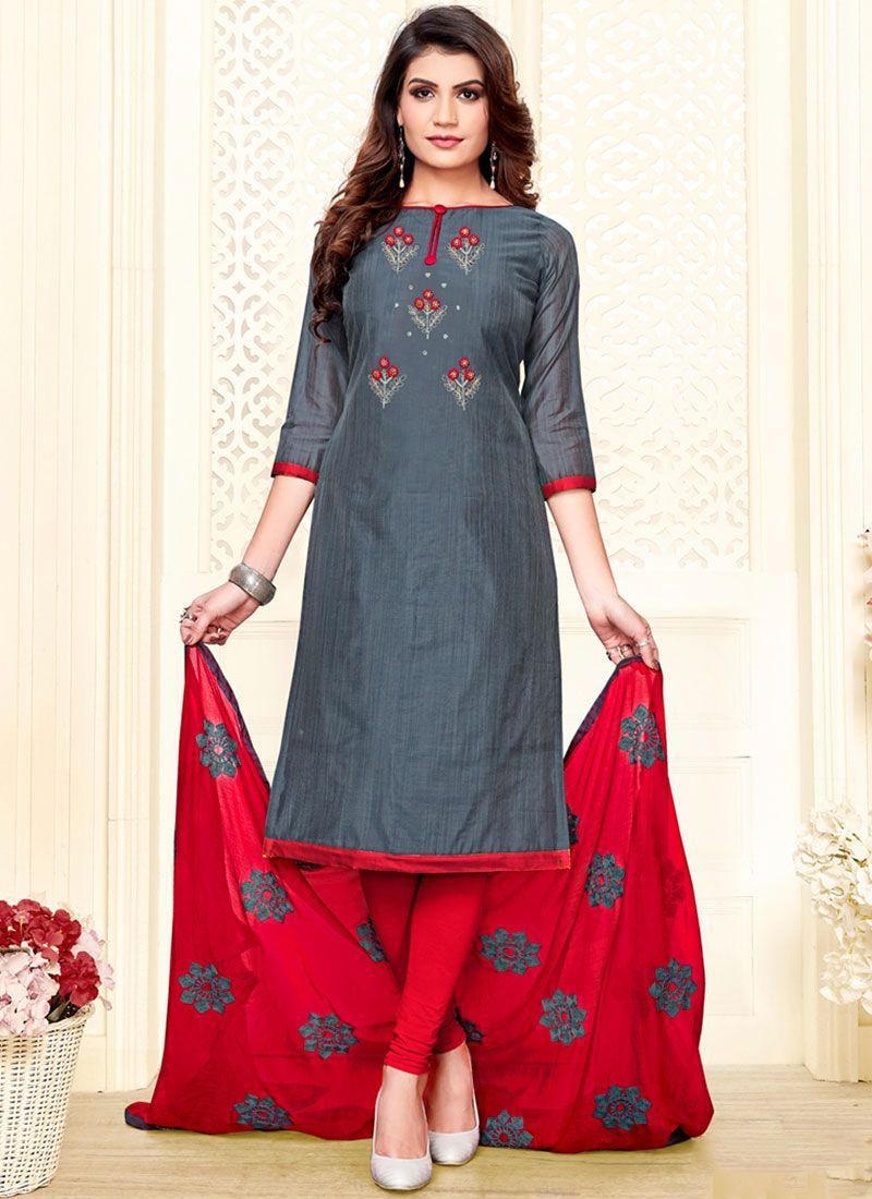 Embroidered Cotton Churidar Designer Suit