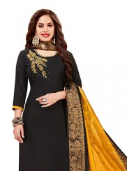 Embroidered Cotton   Churidar Designer Suit in Black