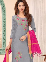 Embroidered Cotton Churidar Designer Suit in Grey