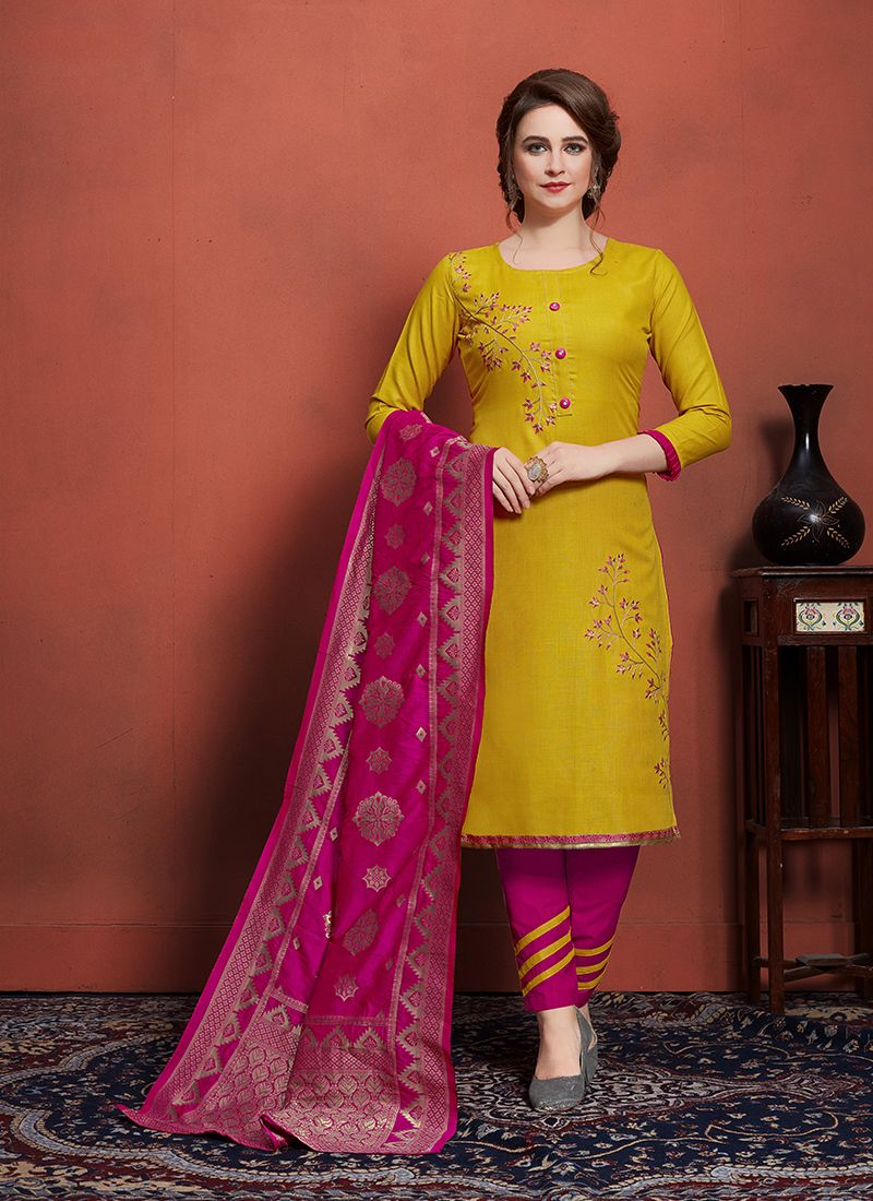 Embroidered Cotton Churidar Designer Suit in Mustard