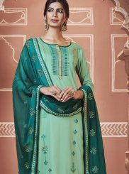 Embroidered Cotton Churidar Designer Suit in Sea Green