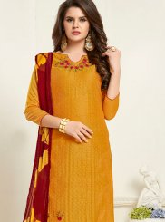 Embroidered Cotton Churidar Salwar Kameez in Mustard