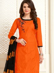 Embroidered Cotton Churidar Salwar Kameez in Orange