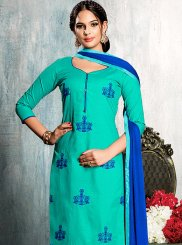 Embroidered Cotton   Churidar Suit in Blue