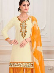 Embroidered Cotton Designer Patiala Salwar Kameez in Cream