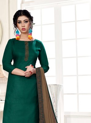 Embroidered Cotton Designer Straight Suit