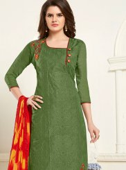 Embroidered Cotton Green Churidar Designer Suit