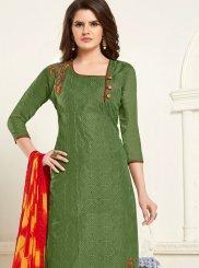 Embroidered Cotton Green Churidar Designer Suit
