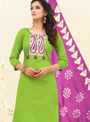 Embroidered Cotton Green Trendy Churidar Salwar Suit