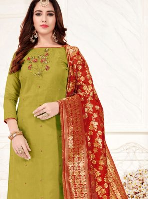 Embroidered Cotton Green Trendy Churidar Suit