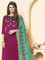 Embroidered Cotton Magenta Salwar Suit