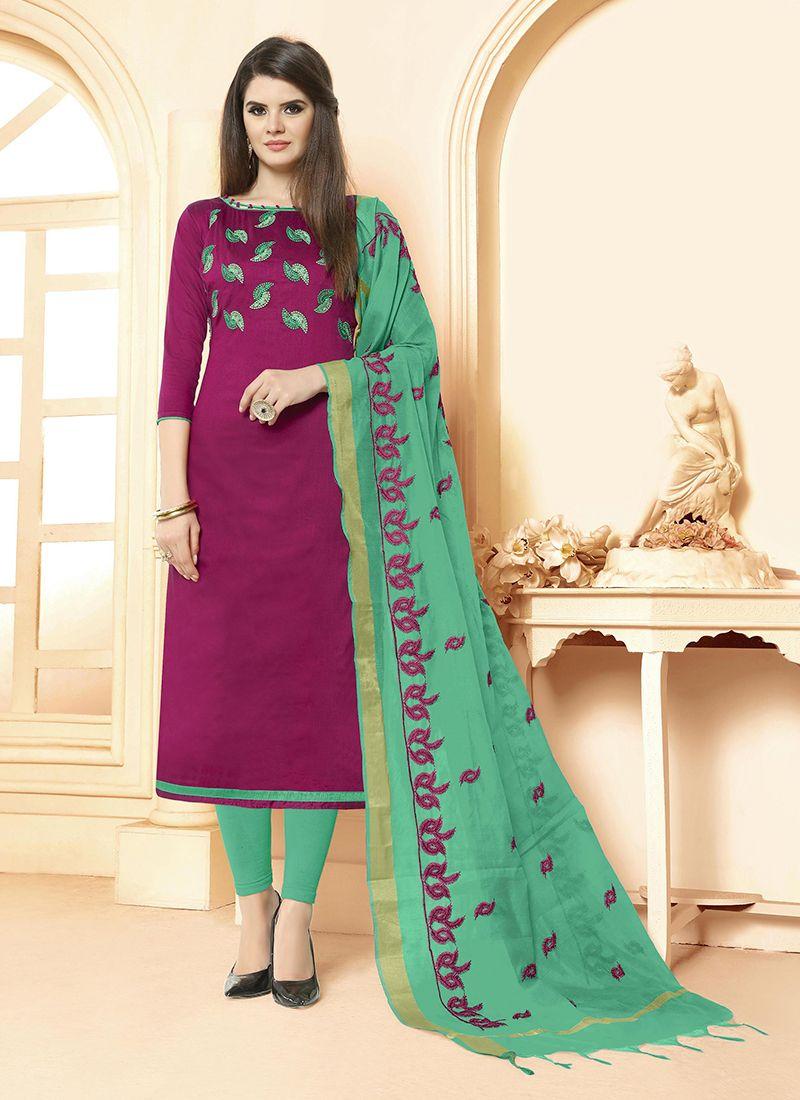 Embroidered Cotton Magenta Salwar Suit