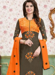 Embroidered Cotton   Multi Colour Churidar Designer Suit