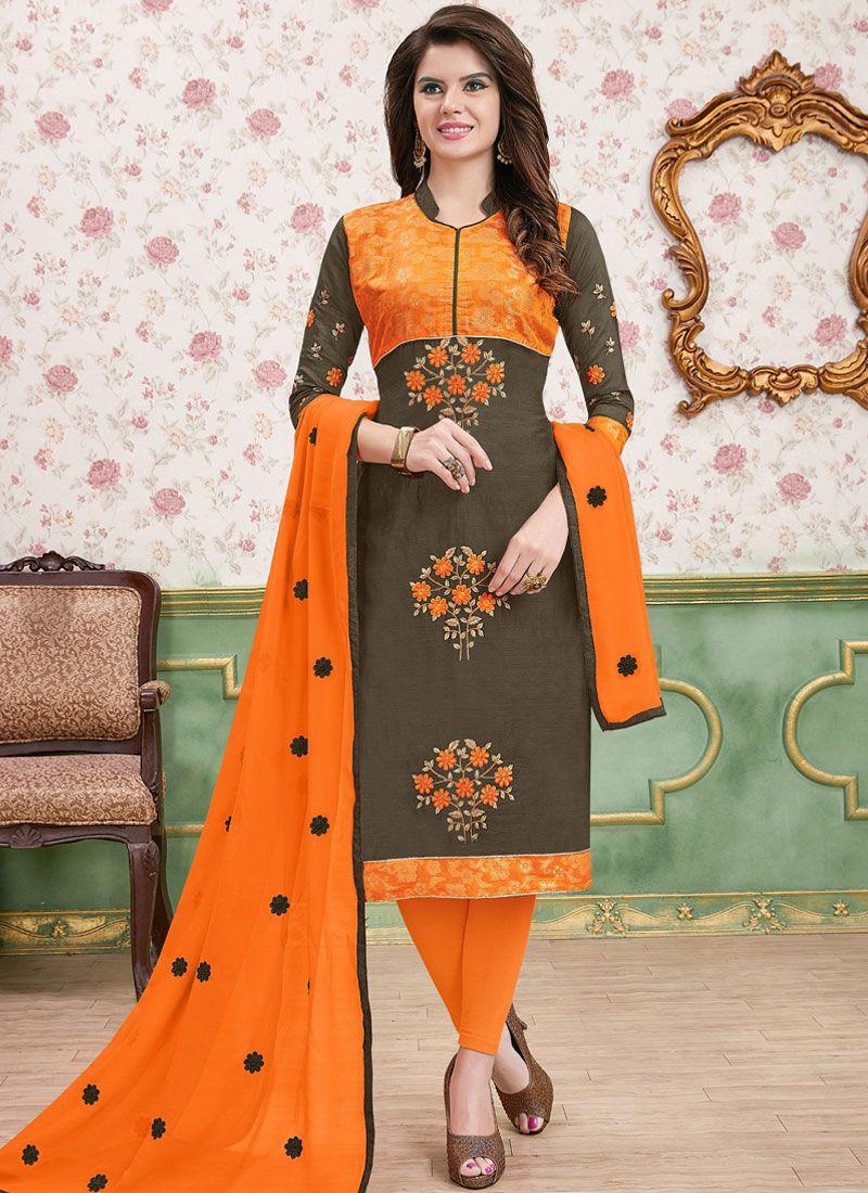 Embroidered Cotton   Multi Colour Churidar Designer Suit