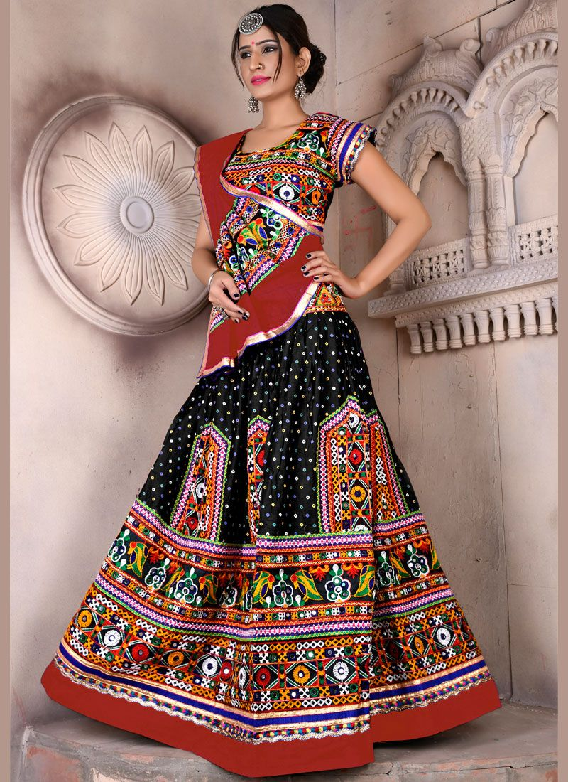Embroidered Cotton Multi Colour Lehenga Choli