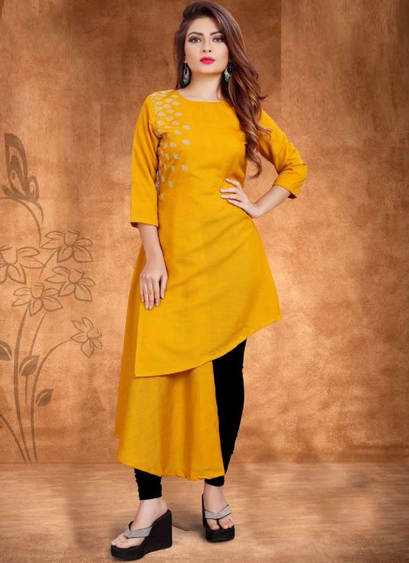 Embroidered Cotton Mustard Casual Kurti
