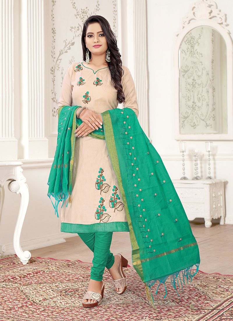 Embroidered Cotton Off White and Sea Green Churidar Suit