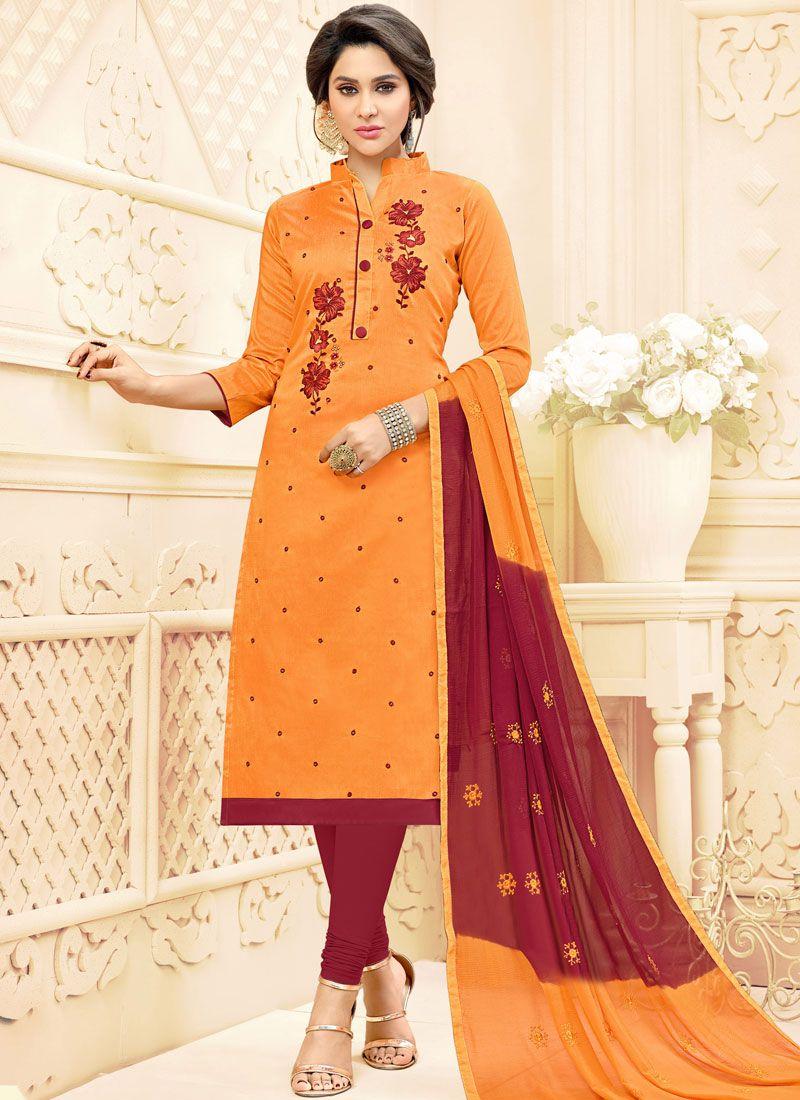 Embroidered Cotton   Orange Salwar Suit