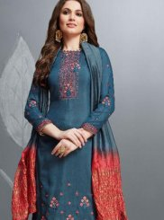 Embroidered Cotton Palazzo Salwar Suit in Teal