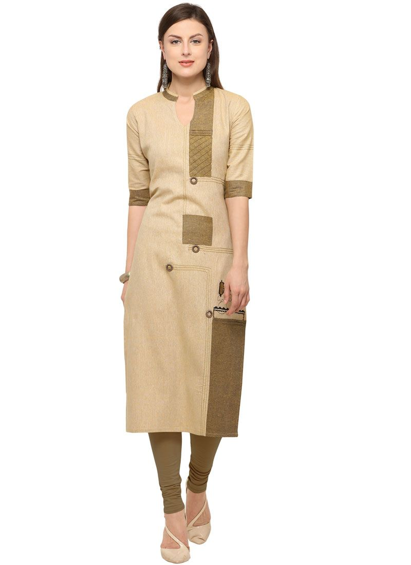 Embroidered Cotton Party Wear Kurti in Beige