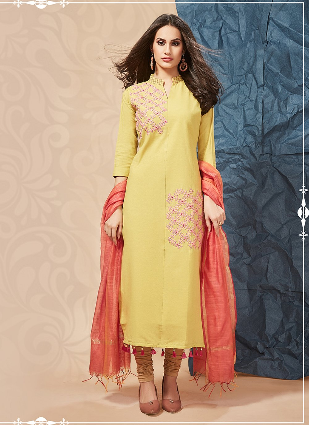 Embroidered Cotton Party Wear Kurti in Yellow