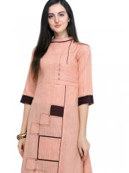 Embroidered Cotton Pink Casual Kurti