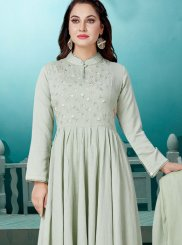 Embroidered Cotton Readymade Suit in Green