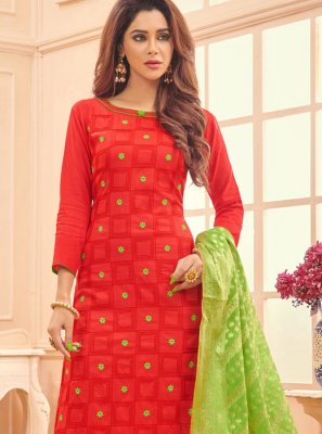 Embroidered Cotton Red Designer Straight Salwar Suit