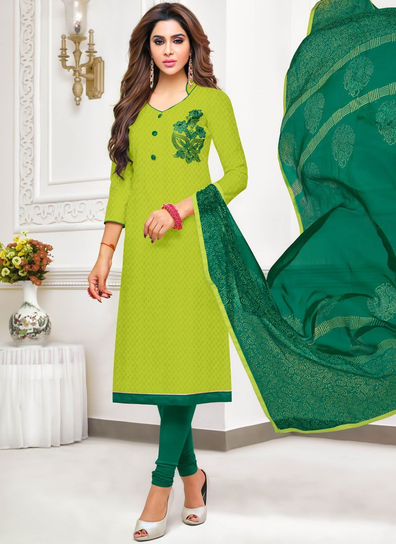 Embroidered Cotton Salwar Kameez in Green