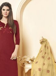 Embroidered Cotton Salwar Kameez in Maroon