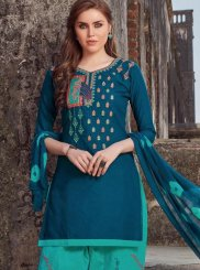 Embroidered Cotton Salwar Kameez in Navy Blue