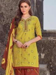 Embroidered Cotton Salwar Kameez in Yellow